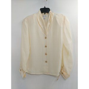 Vintage 1980s Christian Dior Cream Blouse NEW With Tags Size 8
